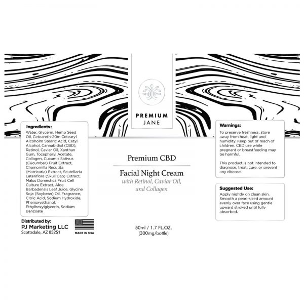 PREMIUM JANE CBD TOPICAL FACIAL NIGHT CREAM 50ML - 300MG